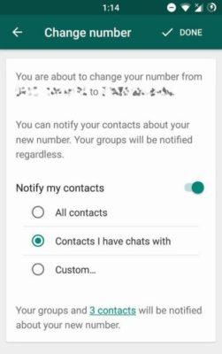 cambio numero Whatsapp