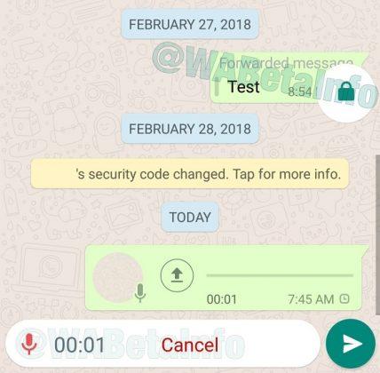 pulsante registrazione vocale Whatsapp Android