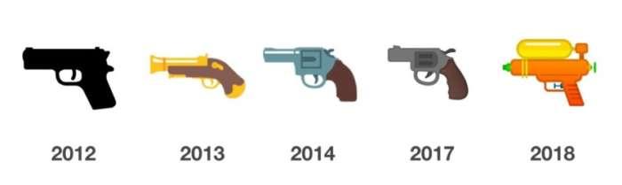 Google, emoji pistola