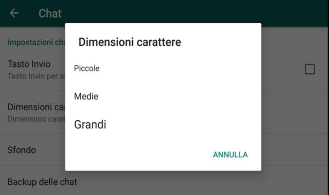 dimensione carattere Whatsapp