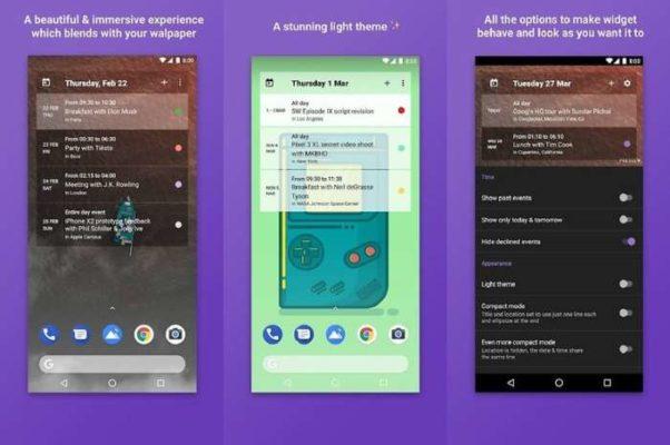 home agenda widget Android