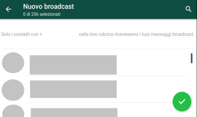 messaggi broadcast Whatsapp