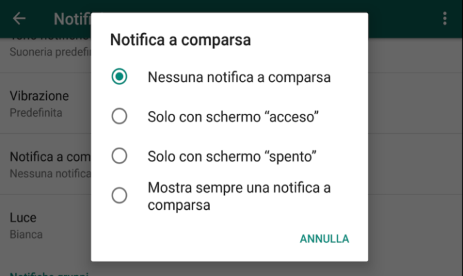 notifica a comparsa Whatsapp