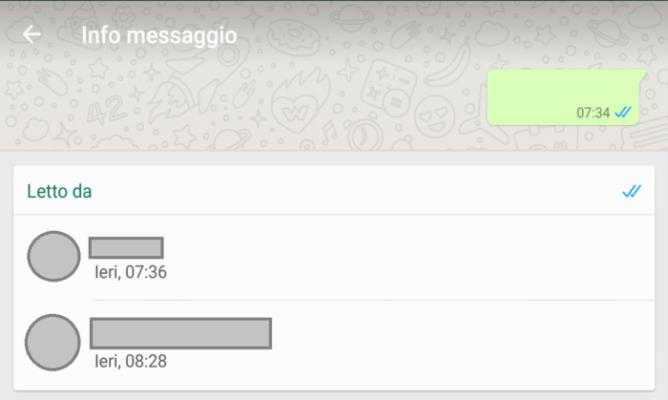 notifiche messaggi letti gruppi Whatsapp