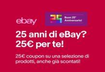 eBay coupon 25 euro 25 anniversario